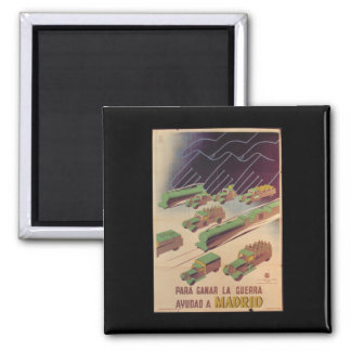 To win war, it's necessary help_Propaganda Poster 2 Inch Square Magnet
