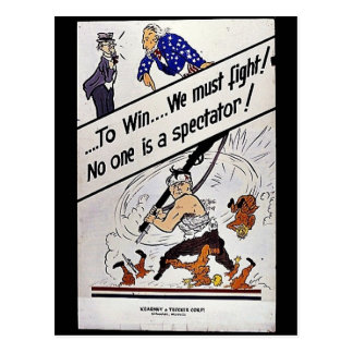 To Win We Must Fight, No One Is A Spectator Postcard
