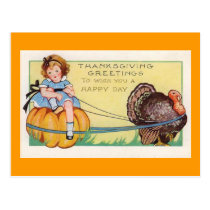 """""""To wish you a happy Day"""" Thanksgiving Postcard"""