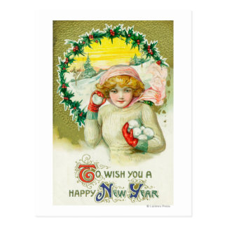 To Wish you a Happy New Year Snowball Fight Postcard