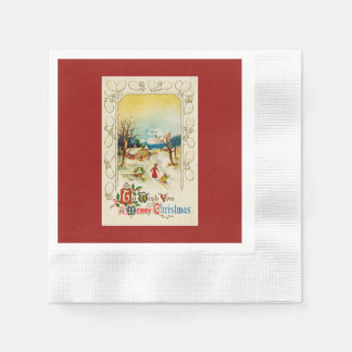 To Wish You A Merry Christmas Red Paper Napkin