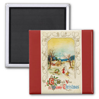 To Wish You A Merry Christmas Red Square Magnet