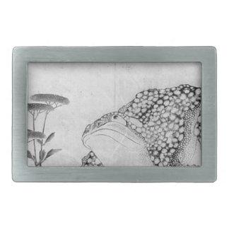 Toad and Flowers - Japanese (Edo Period) Rectangular Belt Buckle