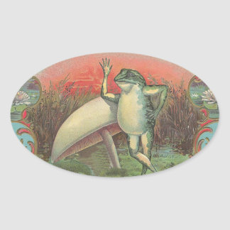 Toad and Mushroom Oval Sticker