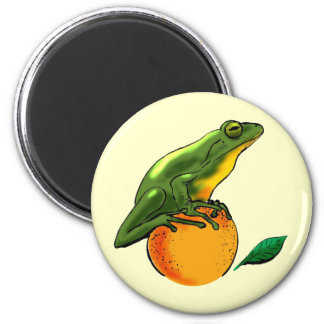 Toad and Orange 2 Inch Round Magnet