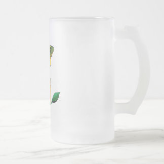 Toad and Orange Frosted Glass Beer Mug
