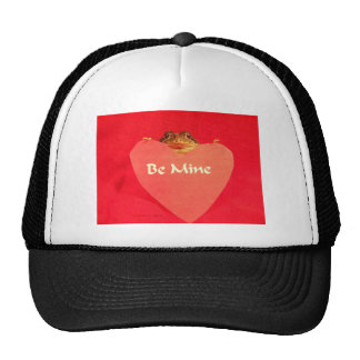 Toad frog holding a heart that says Be Mine ? Mesh Hat
