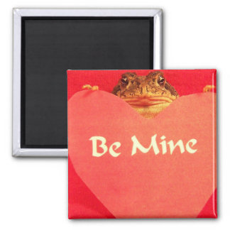 Toad frog holding a heart that says Be Mine ? Fridge Magnet