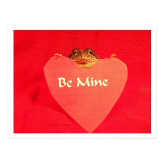 Toad frog holding a heart that says Be Mine ? Postcard