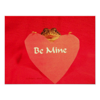 Toad frog holding a heart that says Be Mine ? Posters