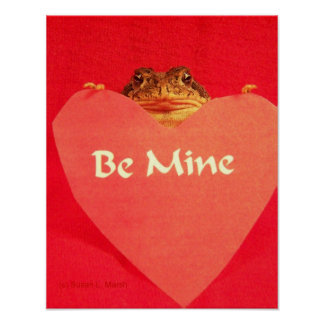 Toad frog holding a heart that says Be Mine ? Print