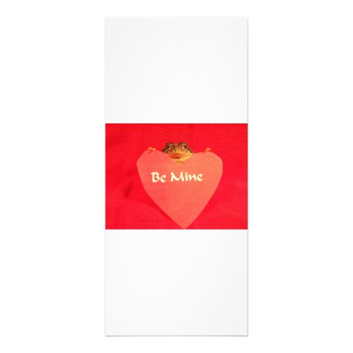 Toad frog holding a heart that says Be Mine ? Custom Rack Cards