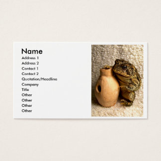 Toad frog holding miniature udu photograph business card