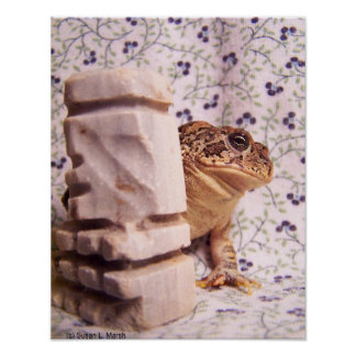 Toad frog marble chess piece prop flowered back print
