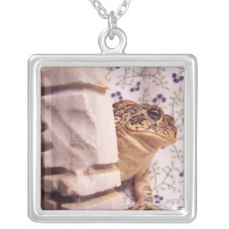 Toad frog marble chess piece prop flowered back silver plated necklace