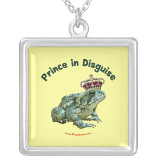 Toad Frog Prince in Disguise Square Pendant Necklace