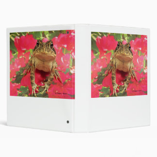 Toad frog standing up against bougainvillea back 3 ring binder