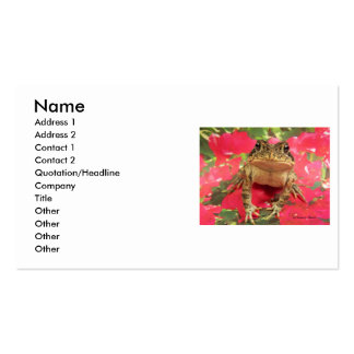 Toad frog standing up against bougainvillea back business card templates