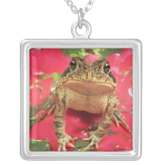 Toad frog standing up against bougainvillea back silver plated necklace