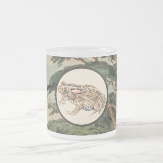 Toad In Natural Habitat Illustration Frosted Glass Coffee Mug