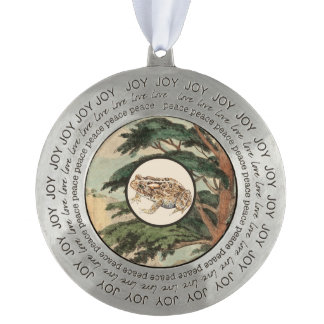 Toad In Natural Habitat Illustration Round Pewter Christmas Ornament