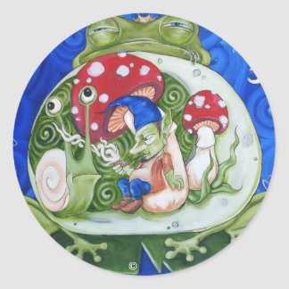 toad king classic round sticker