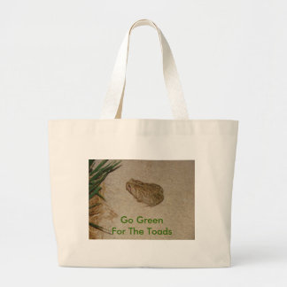 Toad On Cement, Go Green For The Toads Large Tote Bag