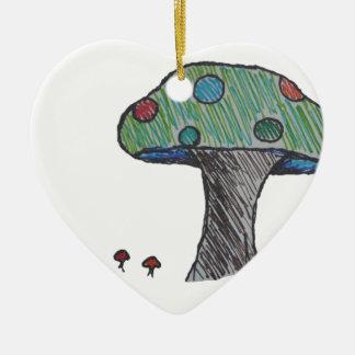 Toad Stool, Mushroom Ceramic Heart Ornament