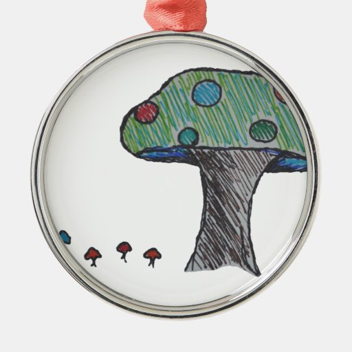 Toad Stool, Mushroom Round Metal Christmas Ornament