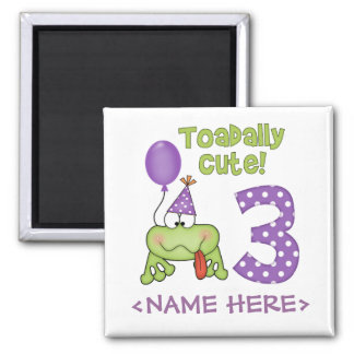 Toadally Cute 3rd Birthday 2 Inch Square Magnet