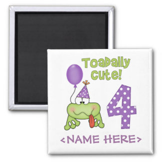 Toadally Cute 4th Birthday 2 Inch Square Magnet