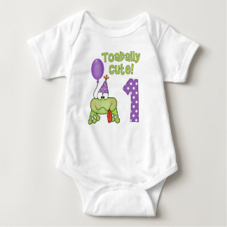 Toadally Cute Frog 1st Birthday Baby Bodysuit