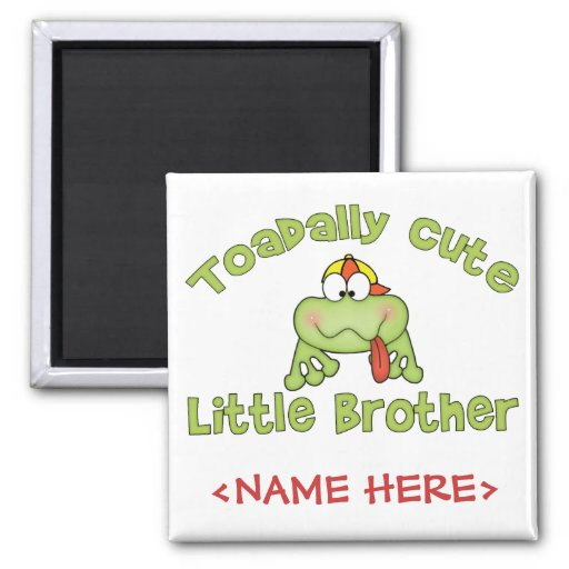 Toadally Cute Little Brother 2 Inch Square Magnet
