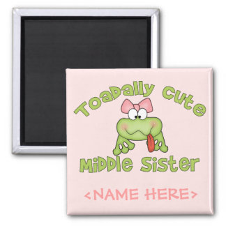 Toadally Cute Middle Sister 2 Inch Square Magnet