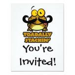 toadally sapo divertido del stachin con un bigote invitación 10,8 x 13,9 cm