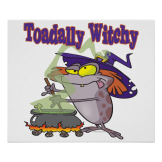 toadally witch funny toad witch brew cartoon poster