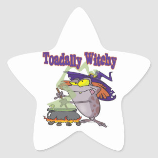 toadally witch funny toad witch brew cartoon star sticker