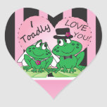 Toadly Love You Heart Stickers