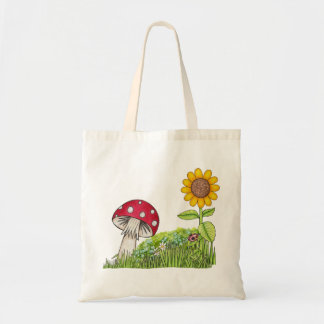 Toadstool and Sunflower Tote