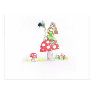toadstool fairy girl postcard
