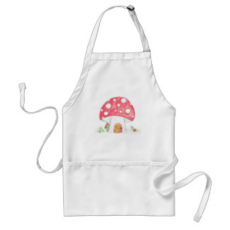 Toadstool Fairy Girl water colour print gift Adult Apron