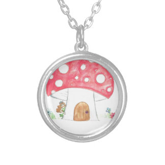 Toadstool Fairy Girl water colour print gift Necklaces