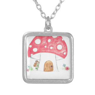 Toadstool Fairy Girl water colour print gift Custom Jewelry