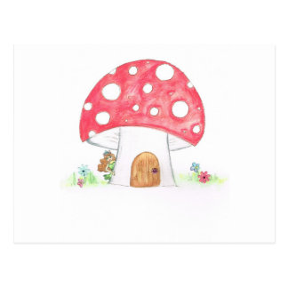 Toadstool Fairy Girl water colour print gift Post Card