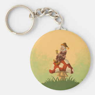 toadstool gnome basic round button keychain