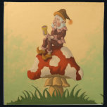 "toadstool gnome fantasy napkin<br><div class=""desc"">dinner table napkins featuring a funny &amp; whimsical fantasy character illustration of an happy old male gnome sitting on a colorfull toadstool &amp; having a little drink from a special wooden cup. exclusively by frank glerum art.</div>"