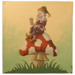 toadstool gnome fantasy napkin<br><div class='desc'>dinner table napkins featuring a funny &amp; whimsical fantasy character illustration of an happy old male gnome sitting on a colorfull toadstool &amp; having a little drink from a special wooden cup. exclusively by frank glerum art.</div>
