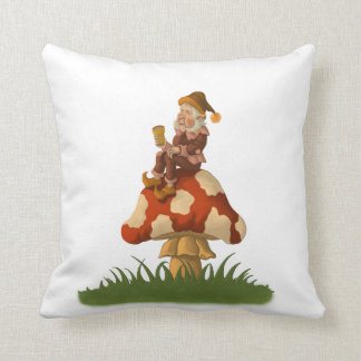 toadstool gnome funny fantasy pillow