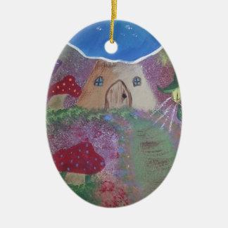 Toadstool house.jpg adorno navideño ovalado de cerámica