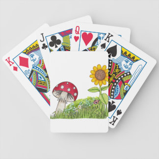 Toadstool with Sunflower and Ladybug products Bicycle Playing Cards